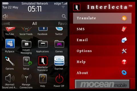 Interlecta Translator for BlackBerry